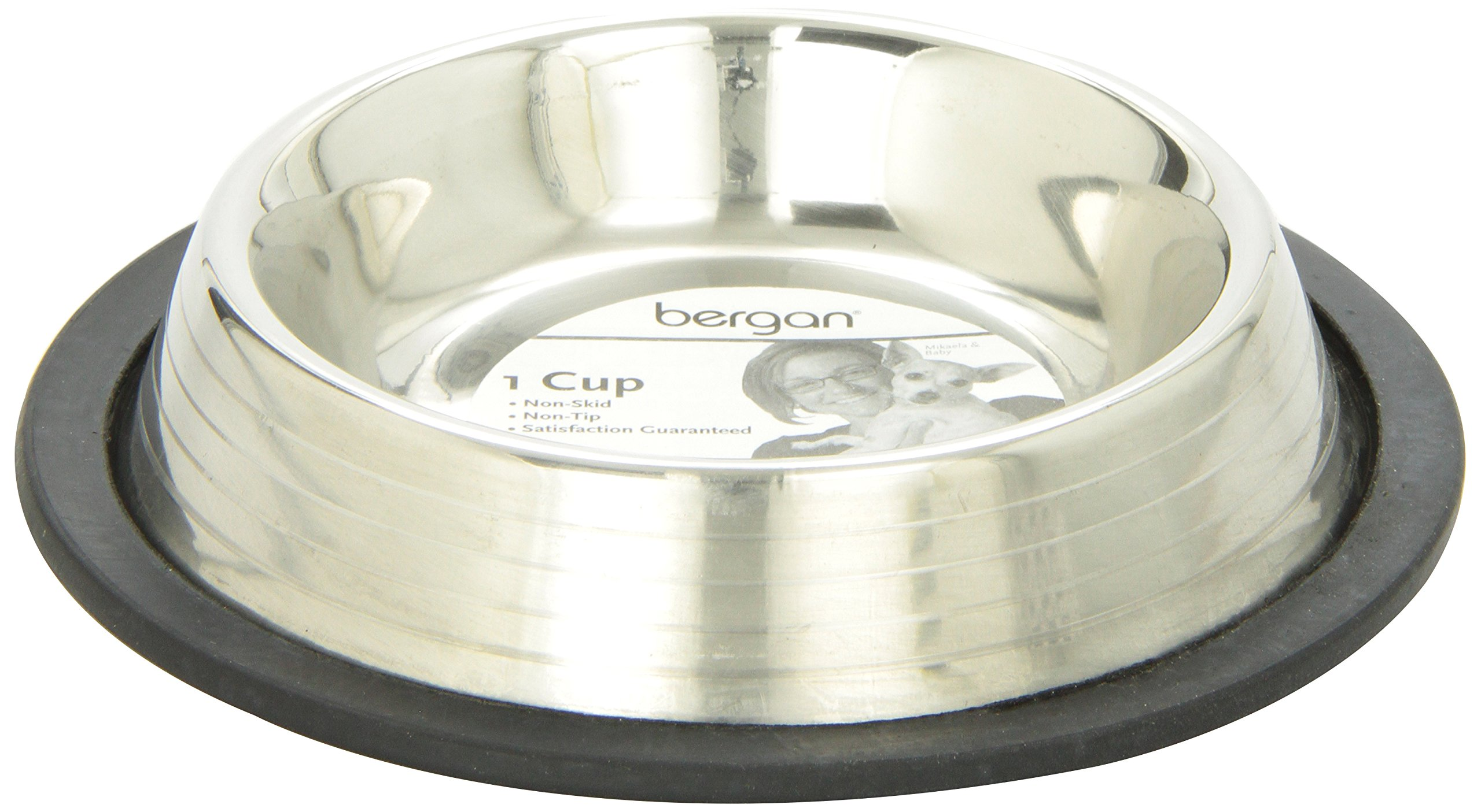 Bergan Stainless Steel Non-Skid/Non-Tip Pet Bowl with Ridges 1 Cup