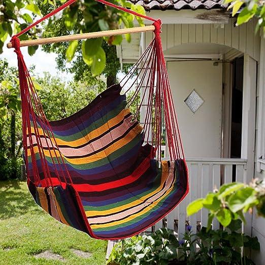 Jardín Patio para colgar regla hamaca Silla Interior Al aire libre algodón Swing cojín asiento: Amazon.es: Jardín
