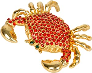 QIFU-Hand Painted Enameled Crab Shape Decorative Hinged Jewelry Trinket Box Unique Gift for Home Decor