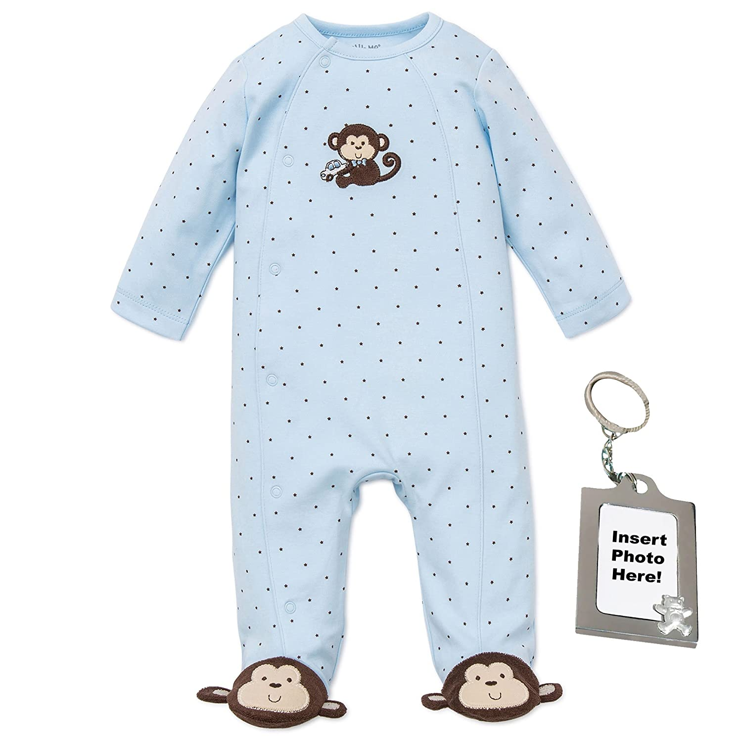 Amazon.com  Little Me Footie Baby Boy Footed Pajamas Sleeper and Tether  Blue Monkey  Baby 972a27e48
