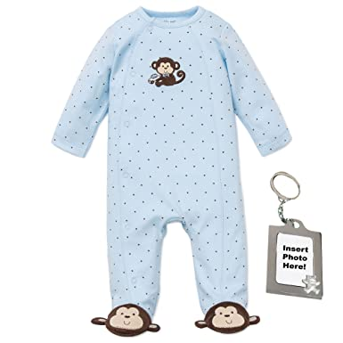 Amazon.com  Little Me Footie Baby Boy Footed Pajamas Sleeper and Tether  Blue Monkey  Baby 80262d06f