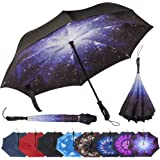 Repel Reverse Folding Umbrella with 2 Layered Teflon Canopy and Reinforced Fiberglass Ribs (Starry Night)