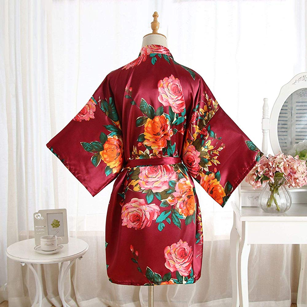 beach cover up party spa robe Bridesmaids maid of honor bridal shower Floral kimono crossover robe dressing up robe