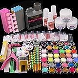 42 in 1 Acrylic Nail Kit, Nail Art Set Acrylic Powder Liquid Brush Glitter Clipper File French Tips Nail Art Decoration Tools