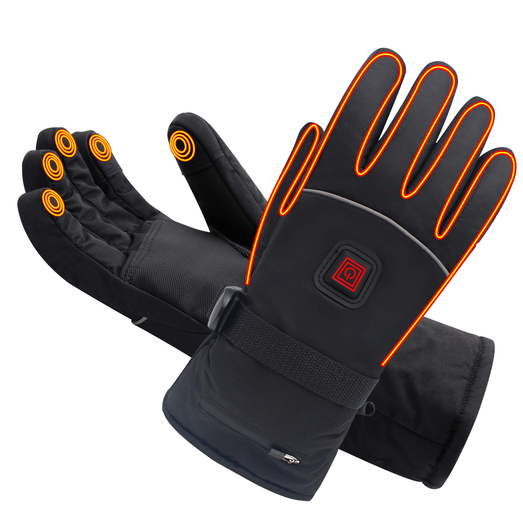 Spring Heated Gloves with Rechargeable Battery Heated for Men and Women,Waterproof Thermal Insulation Gloves Winter Warm Gloves for Skiing Hiking Mountaineering (7.4V-L) by SPRING SHOP