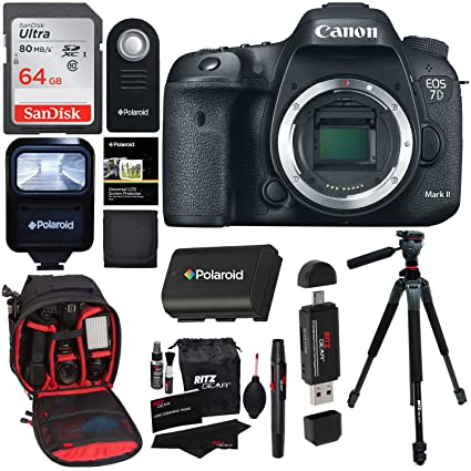 Canon EOS 7D Mark II Digital SLR Camera (Body) + 64GB Memory Card + 60 Inch  Tripod + Spare Battery + Slave Flash + Professional DSLR Case + Accessory