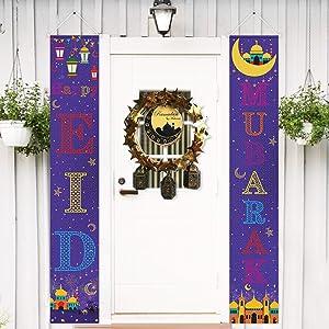 Eid Mubarak Decorations Set Eid Mubarak Porch Sign - Happy Eid Mubarak Banner Hanging Sign for Indoor/Outdoor Front Door Eid Mubarak Party Decor