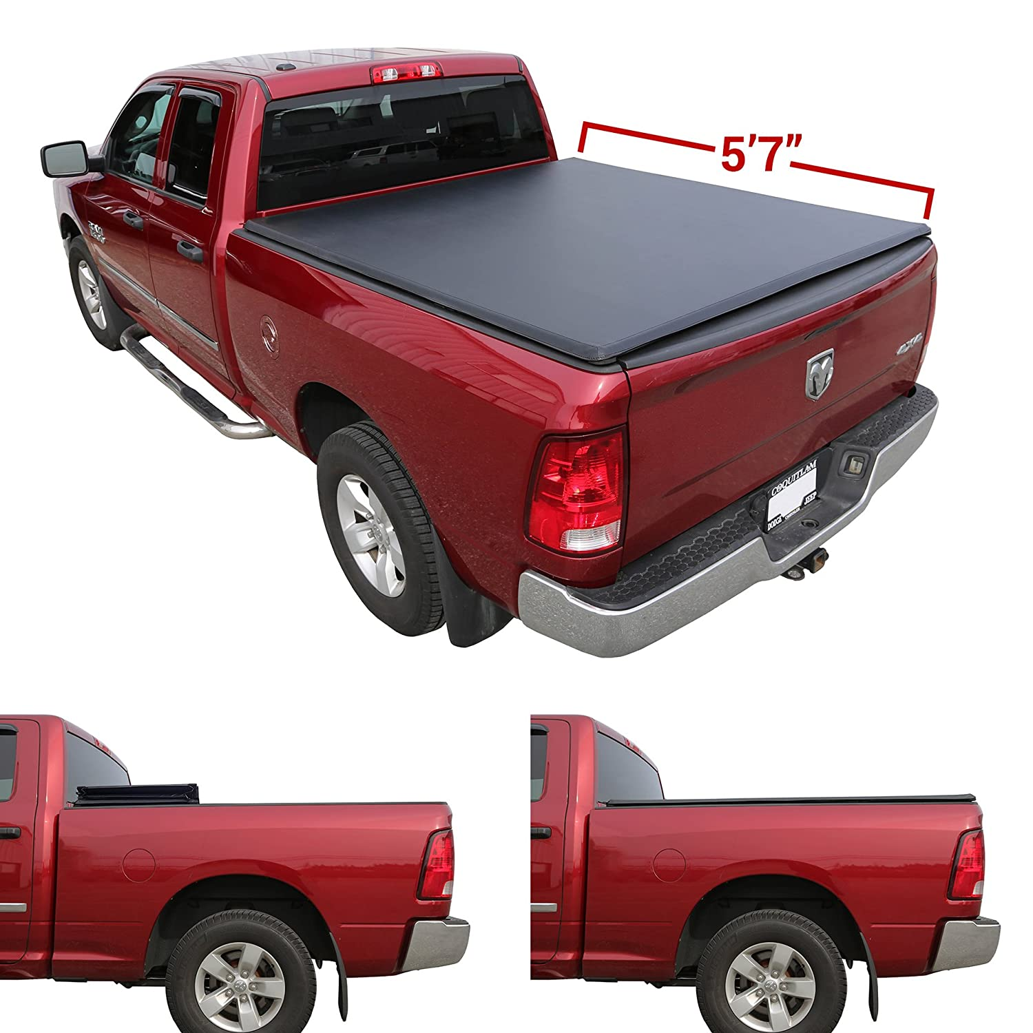 Galaxy Auto Soft Tri-Fold for 2010-18 Dodge Ram 5.7' Bed (Fleetside Models Only) - Black Trifold Truck Bed Tonneau Cover