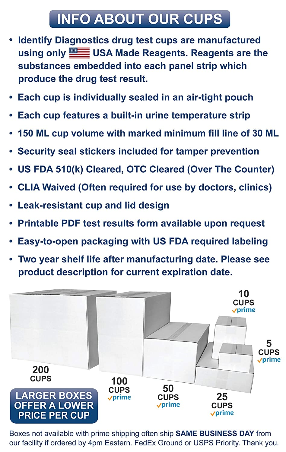 5 Pack Identify Diagnostics 10 Panel Drug Test Cup Testing Instantly for 10  Different Drugs: (THC),