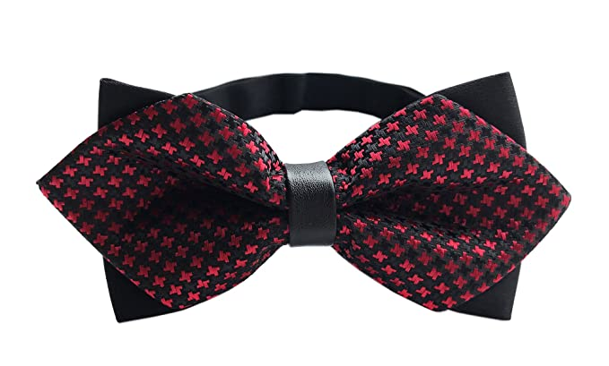 c7f697b139d7 Men's Adjustable Houndstooth Two Layer Neck Black Red Bowties Boys Silk Bow  Ties