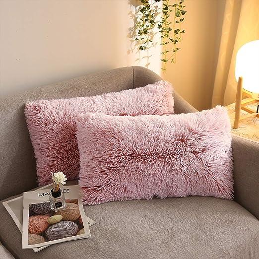 Luxury Shaggy Faux Fur Pillow Cases Fluffy Plush Throw Sofa Cushion Cover