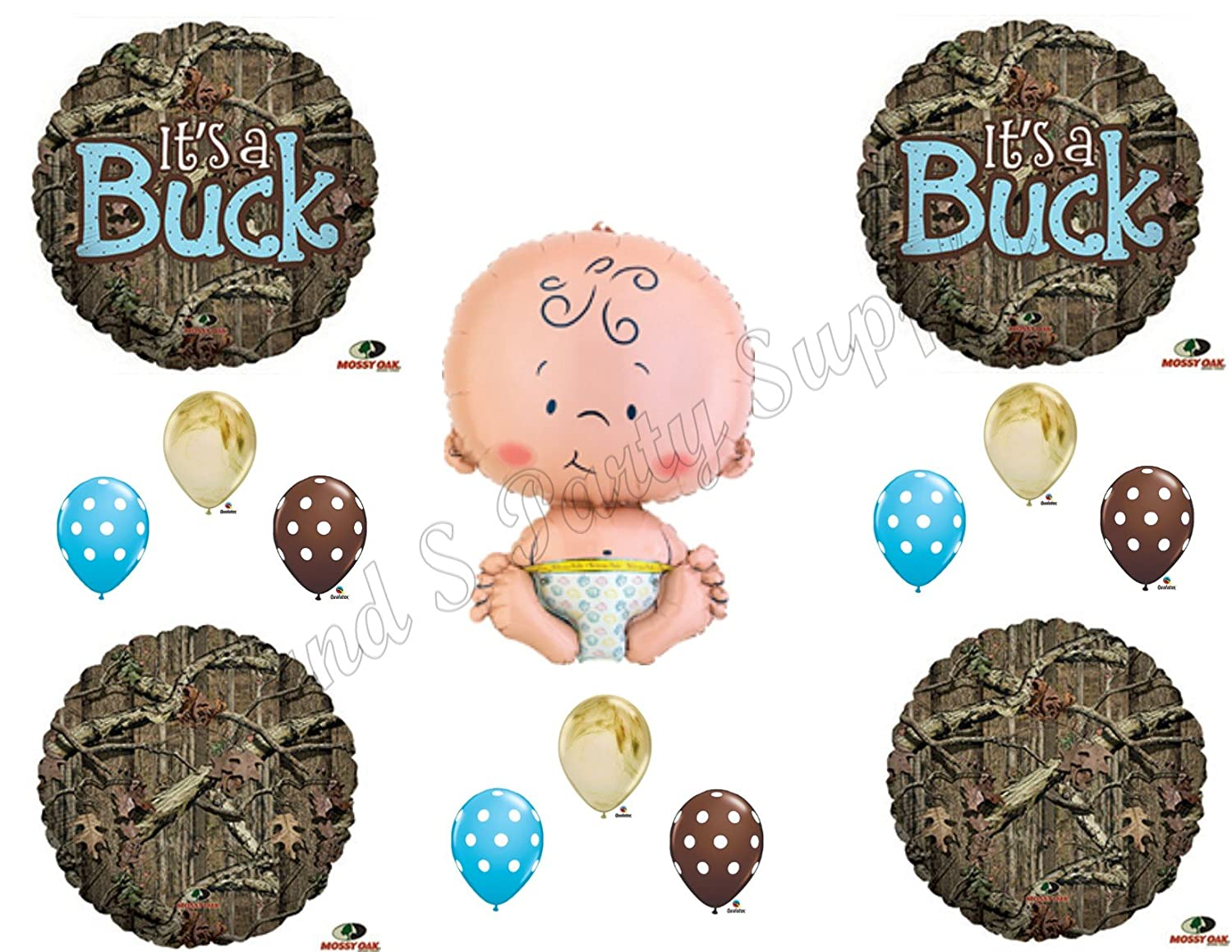 Amazon.com: ITu0027S A BUCK CAMOUFLAGE BABY BOY SHOWER Balloons Decoration  Supplies Mossy Oak: Toys U0026 Games