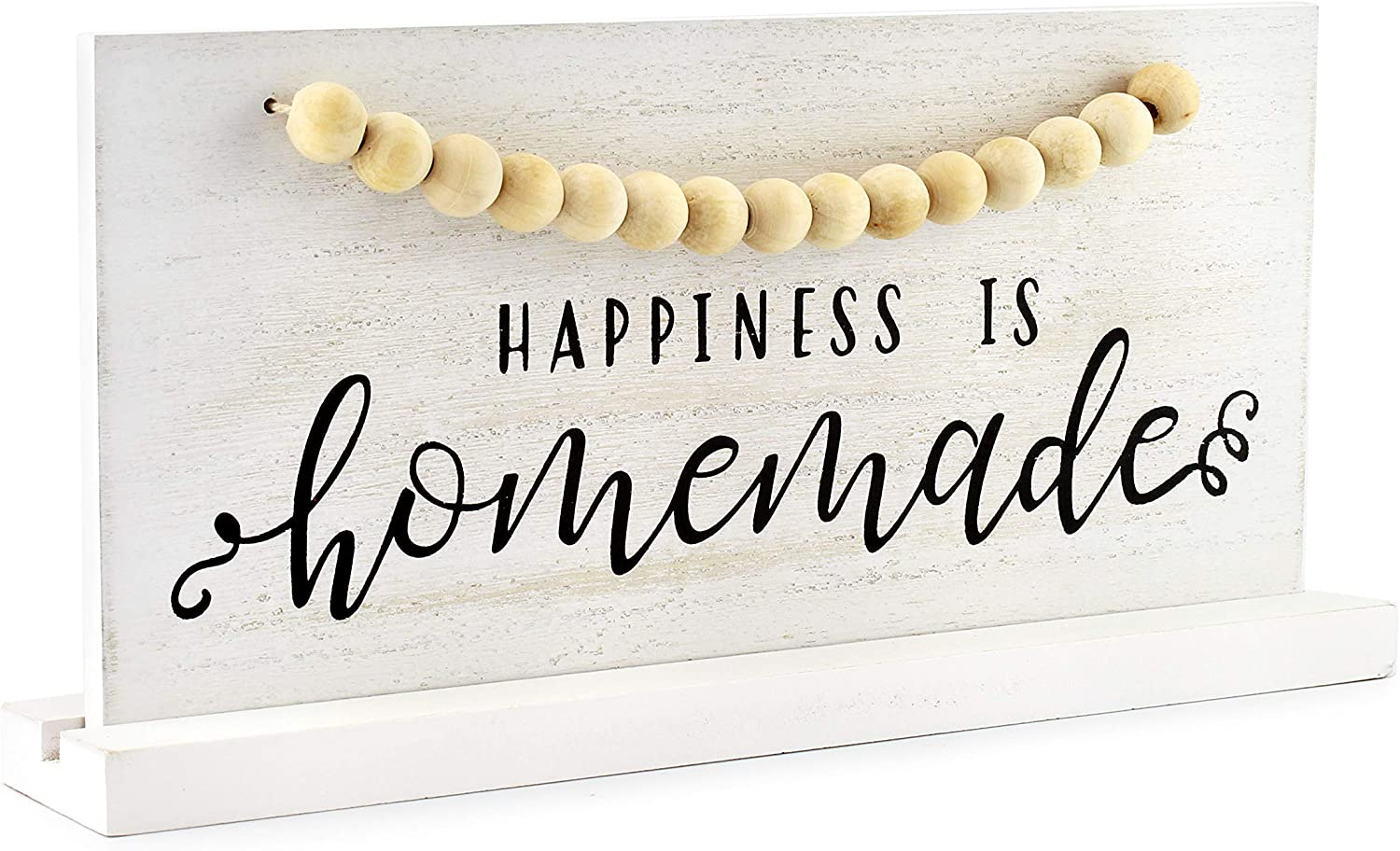 AuldHome Wood Beaded Sign, Happiness is Homemade, Table/Shelf Freestanding Rustic Farmhouse Sign, Distressed Whitewashed Style, 11.8 x 5.6 Inches