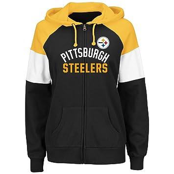 huge discount 68b14 7be1f Majestic Pittsburgh Steelers Women's Hot Route Black Zip Up Hooded  Sweatshirt