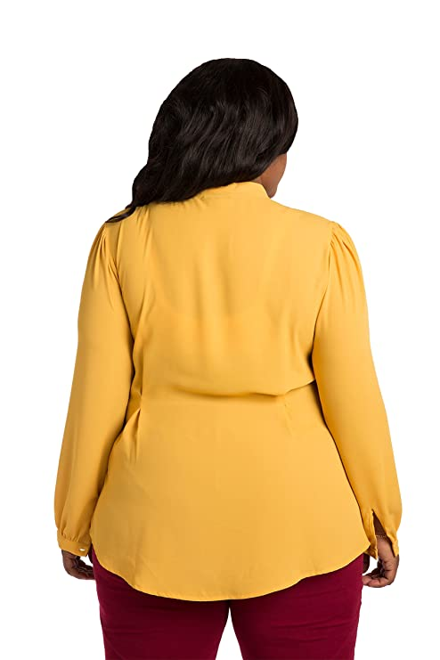 b3f11bfe5291a Poetic Justice Plus Size Women s Gold Yellow Chiffon Button Up Neck-Tie  Blouse at Amazon Women s Clothing store