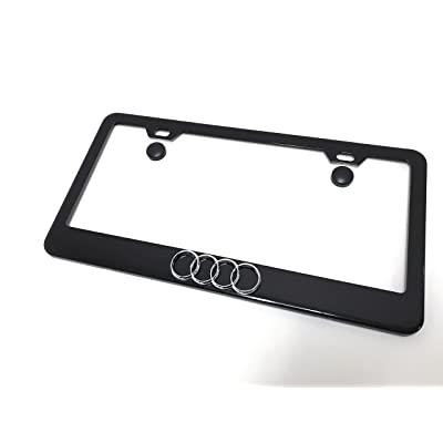 Deepro 1 3D 4 Ring Logo Black Powder Coated Metal License Plate Frame with Screw Caps Audi: Automotive