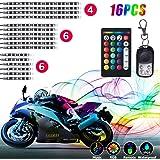 16Pcs Motorcycle LED Lights, Strips Kit Multi-Color Accent Glow Neon Lights Lamp Flexible with Remote Controller for Harley Davidson Honda KTM BMW Suzuki Ducati Polaris Kawasaki,AS-144