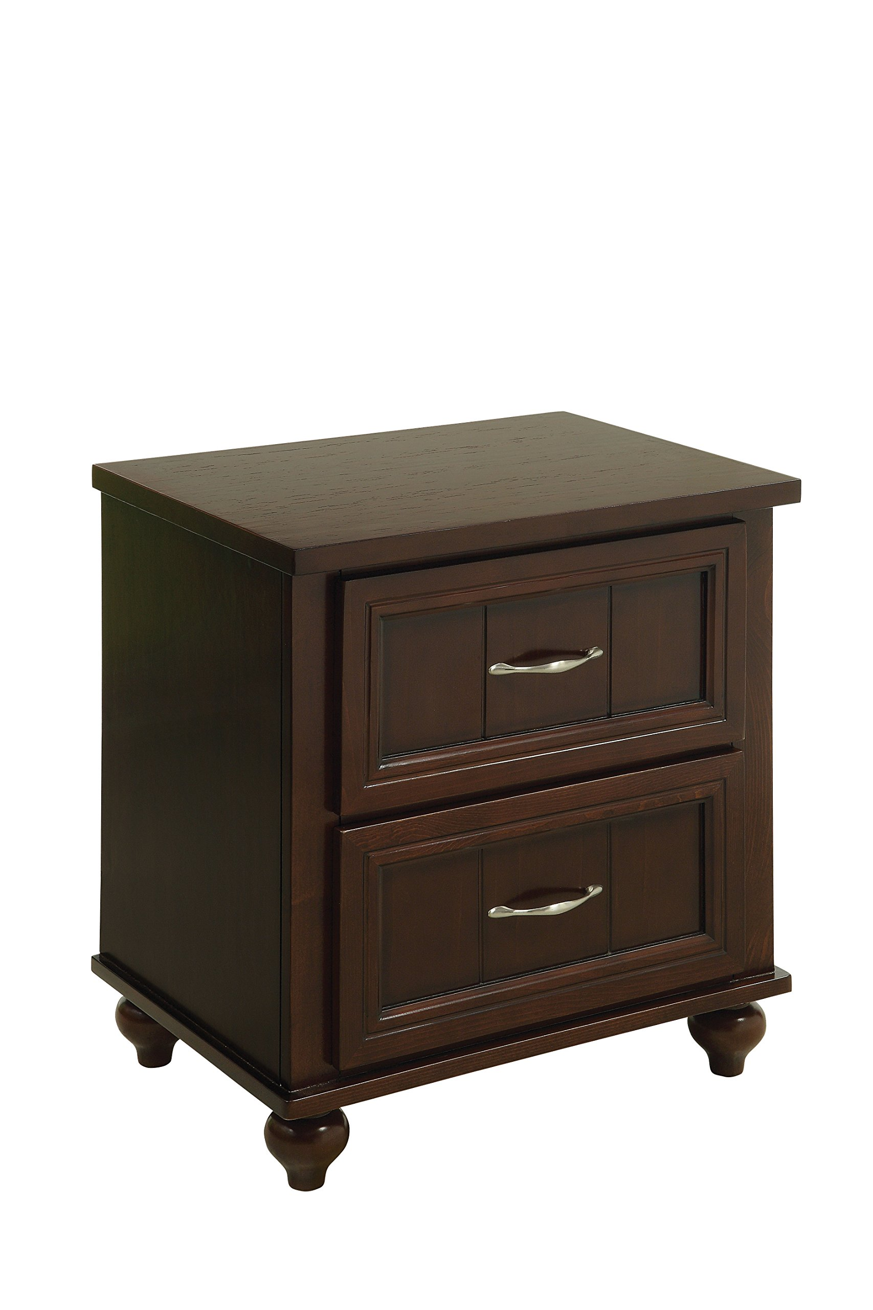 HOMES: Inside + Out Felix Transitional 2-Drawer Nightstand, Espresso