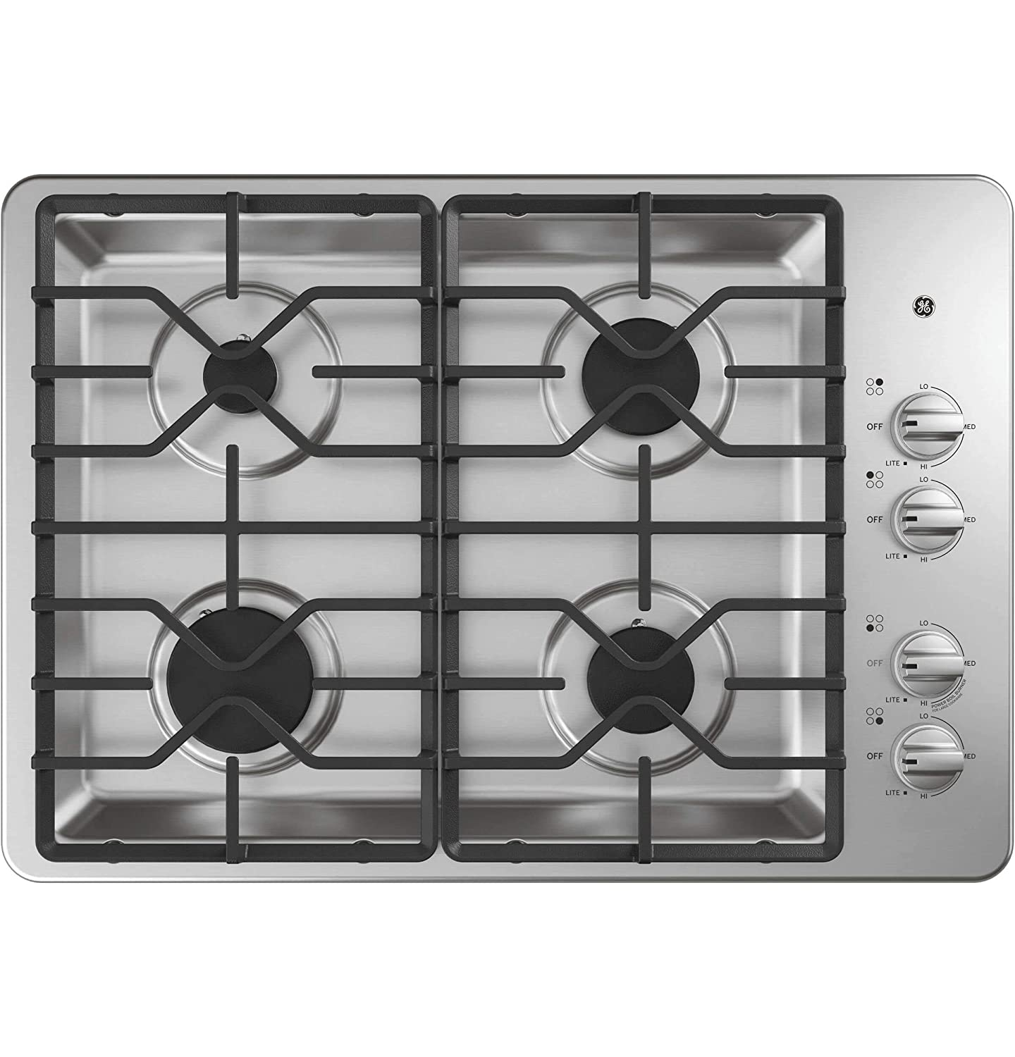 GE JGP3030SLSS 30 Inch Gas Cooktop with MAX System, Power Broil, Simmer, Continuous Grates, Sealed Burners and ADA Compliant (Certified Refurbished)