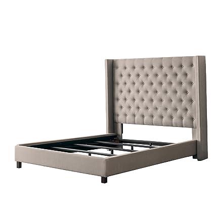 Tremendous Corliving Fairfield King Fabric Panel Bed With Wings In Beige Inzonedesignstudio Interior Chair Design Inzonedesignstudiocom