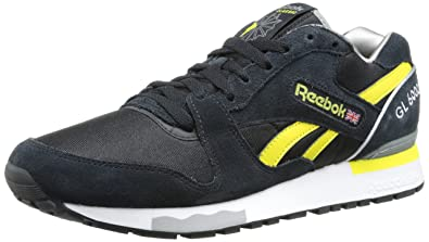 Reebok Men's GL 6000 Athletic Classic Shoe, Black/White/ Grey/Lemon/