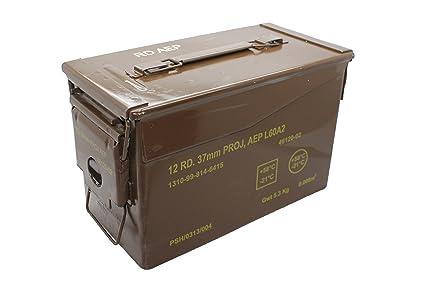 BRITISH ARMY BROWN MEDIUM METAL AMMO BOX USED MILITARY SURPLUS