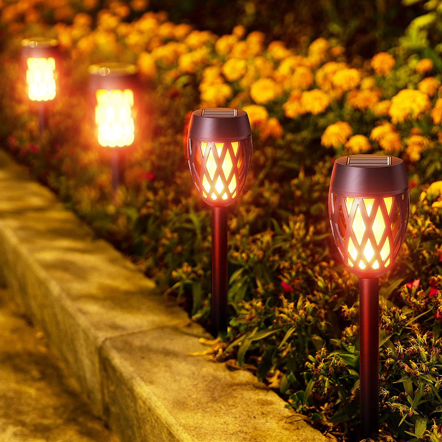 KOOPER Solar Lights Outdoor Decorative Patio Waterproof Landscape Tiki Torches Decoration for Yard 4 Pack Solar Torch Light with Flickering Flame Garden