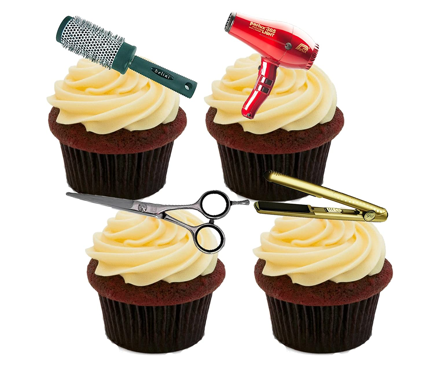 Hairdresser Edible Cupcake Toppers - Stand-up Wafer Cake Decorations ...