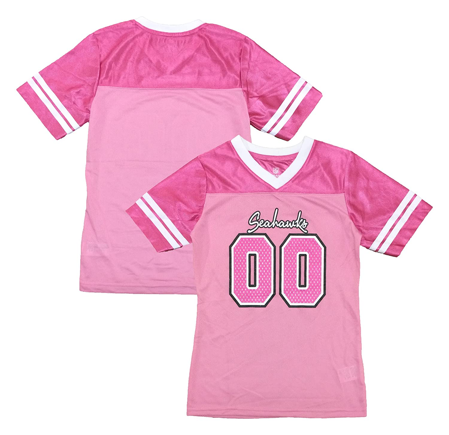 0017f214396 Amazon.com: Outerstuff Seattle Seahawks Logo #00 Pink Dazzle Girls Youth  Jersey: Clothing