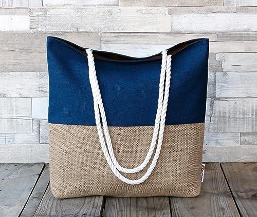 Bolso de playa - Azul - Maxibolso de verano, hecho a mano en lona y tela de saco, con asas de cordón de algodón: Amazon.es: Handmade