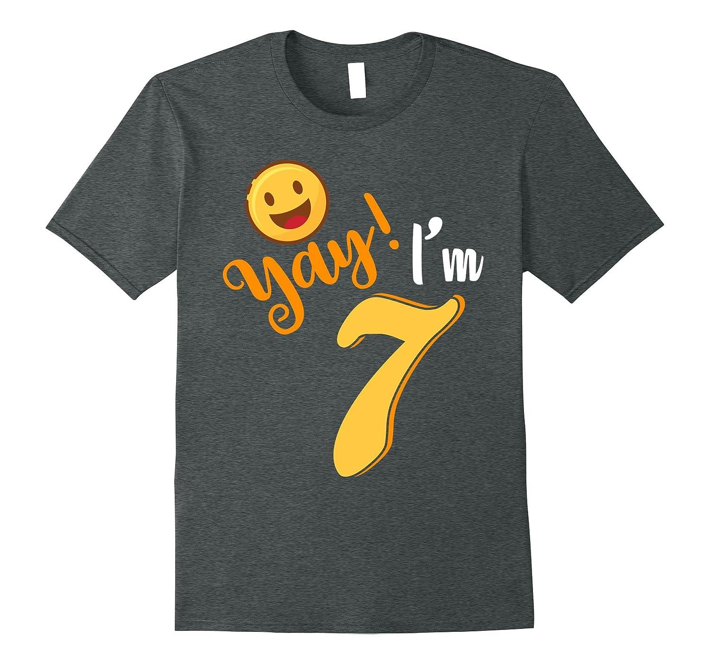 7th Birthday T Shirt Yay Im 7 Funny Emoji