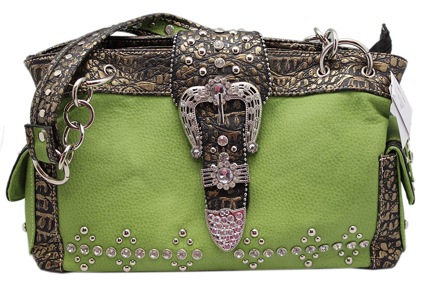 Lime Green Western Cowgirl Shoulder Handbag With Zipper Top Closure