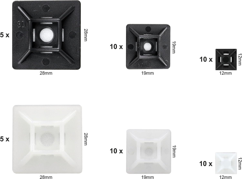 12 mm Noir et Blanc Support de Serre C/âble Plastique 19mm et 28 mm intervisio 50 Pi/èces Mix Embases Adhesive pour Attache de Cable Serre-C/âbles Auto Adh/ésif Embase pour Collier de Serrage