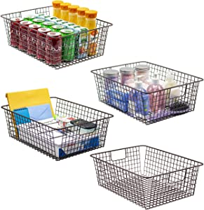 Sorbus Farmhouse Storage Bin Baskets with Handles, Stackable Wire Style Basket Organizer Home Décor, Kitchen Pantry, Bathroom, Laundry Room, Closet Organization, Iron Metal (4-Pack, Bronze)