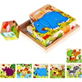 Lewo Wooden Cube Pattern Blocks Animals Jigsaw Puzzles Toddler Toys