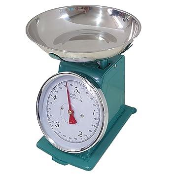 euronovità Báscula Verde Agua de Cocina 20 Kg Mecánica analógico con Estilo Retro de Metal