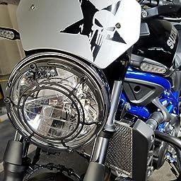 Amazon ドクロ 星 骸骨 スカルステッカー パニッシャー シール ミリタリー 車 Macbook スノボに Mili015 シルバー ステッカー デカール 車 バイク