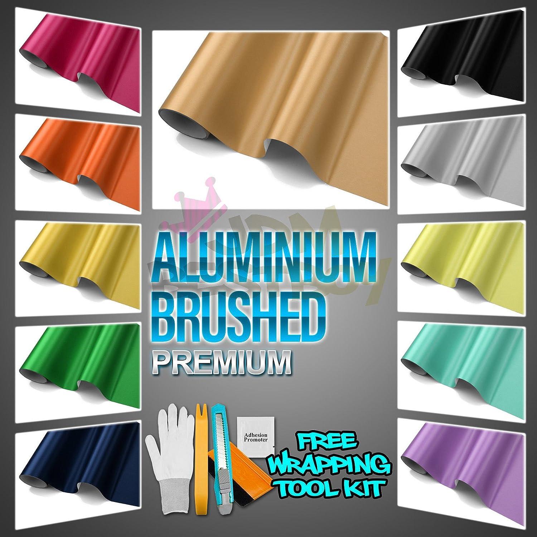 BLACK /& ALL SIZES Air Free Black Brushed Aluminium Vinyl Wrap Sticker