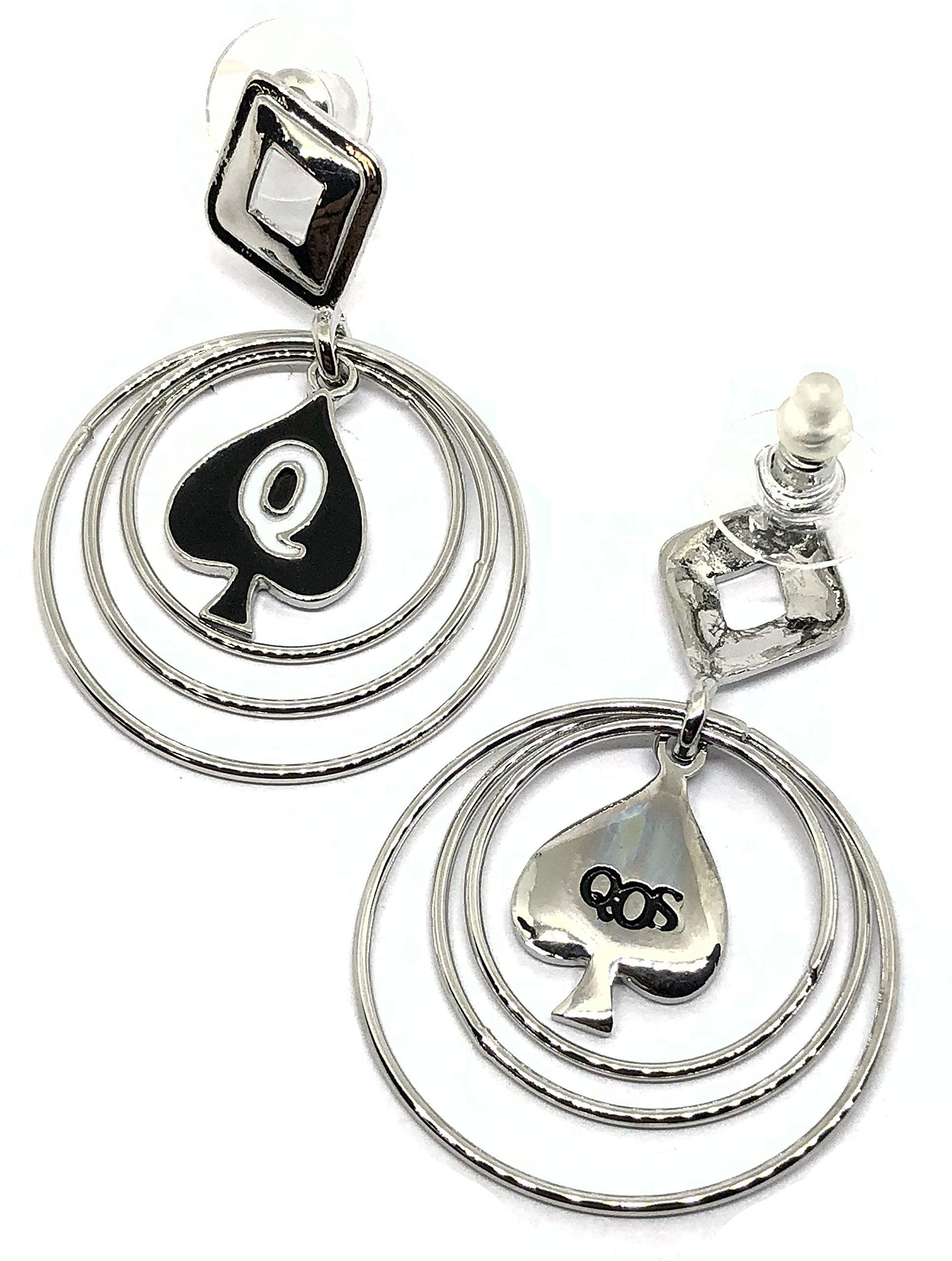 QOS Queen Of Spades Branded Multi Hoop Earrings with Hotwife Vixen Charm, Cuckold Swinger Lifestyle (Silver)