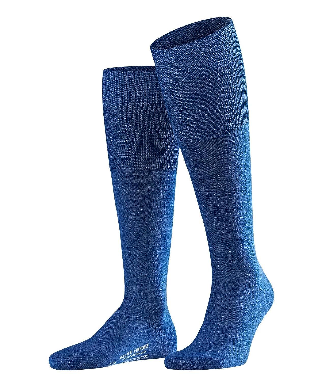 royal blue 43-44 FALKE Herren Airport Woll-// Baumwoll Str/ümpfe Einfarbig Business Kniestr/ümpfe