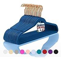 Premium Velvet Hangers (Pack of 50) Heavyduty - Non Slip - Velvet Suit Hangers Dark Blue - Copper/Rose Gold Hooks,Space…
