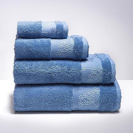 Sancarlos - Toalla Rizo baño Rumba Azul - Cenefa Jacquard - Densidad 500 g. -