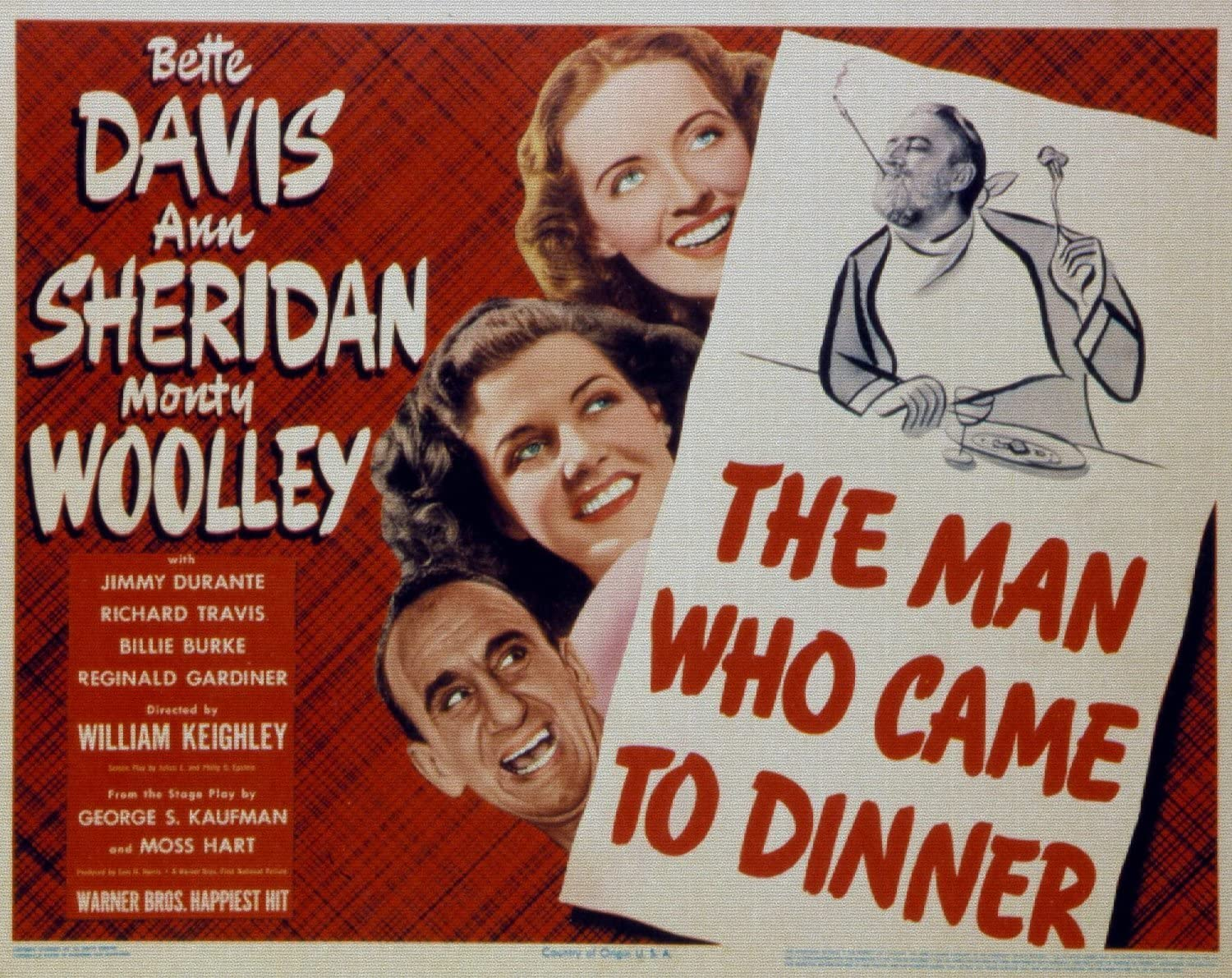 Bette Davis movie poster print 1942 The Man Who Came to Dinner