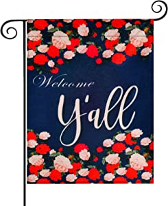 Donse Welcome Spring Garden Flag Outdoor Welcome Y'all Rose Flower Flag Decoration for Mothers Day, Double Sided Waterproof Colorful Design Seasonal Yard Flag for Holidays Decor