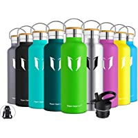 Super Sparrow Stainless Steel Vacuum Insulated Water Bottle, Double Wall Design,Standard Mouth - 500ml & 750ml & 1000ml - BPA Free - with 2 Exchangeable Caps + Bottle Pouch (Apple Green, 350ml)