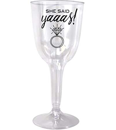 she said yaaas disposable wine glasses 20 pack bachelorette party engagement wedding