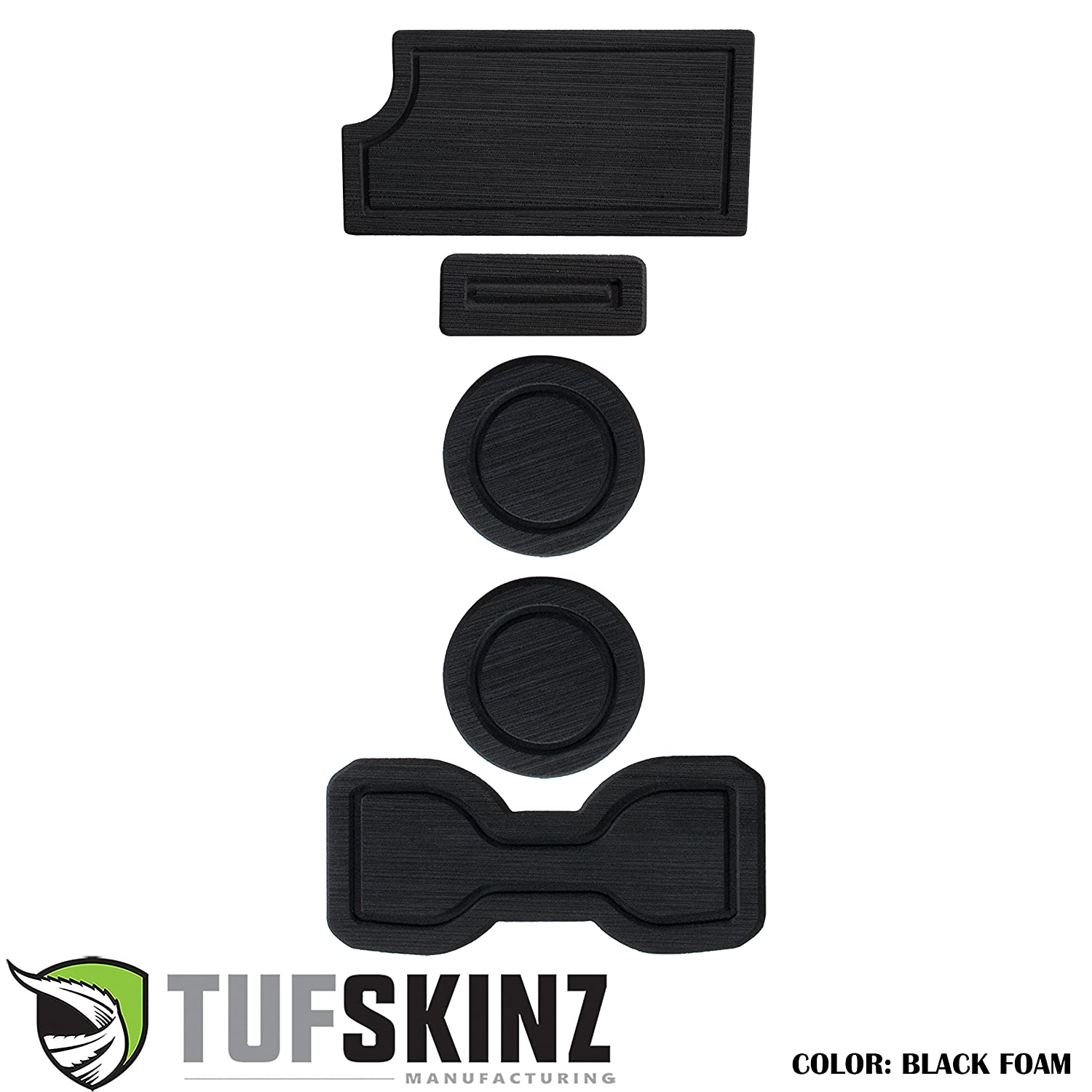 TufSkinz 2016-Up Tacoma 3RD GEN Interior Cup Holder Inserts w//QI Charger Black//Blue, Automatic Transmission - Include QI Insert