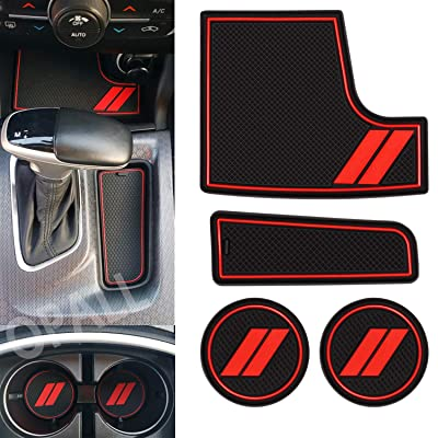 Custom Fit for 2015-2020 Dodge Charger Cup Holder Insert & Center Console Shifter Liner Trim Mats | Custom Fit Non Slip Storage Bin Mat Set | Charger Interior Accessories 4PC: Automotive