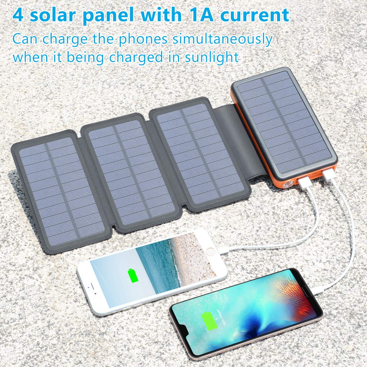 iPad Laptop and Outdoor Waterproof Solar Charger 25000mAh ADDTOP Portable Solar Power Bank with Type-C Input for Smart Phones