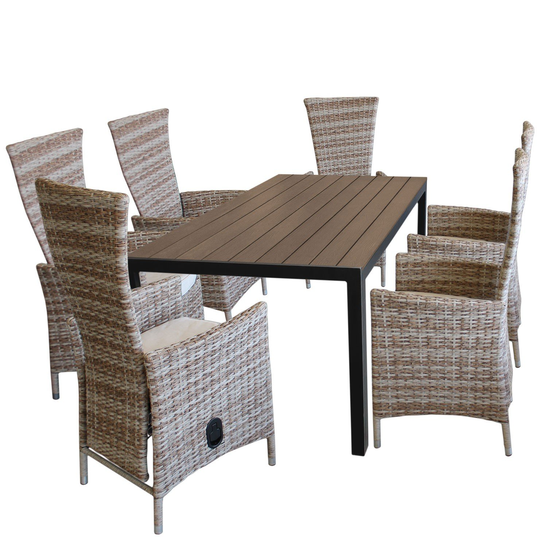 7tlg sitzgruppe gartenmisch polywood tischplatte in brown grey 150x90cm 6x gartensessel. Black Bedroom Furniture Sets. Home Design Ideas